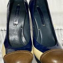 Bcbg Maxazria Womens 8b Black Patent Leather Ruffle Heel Shoe- Interior Defect Photo