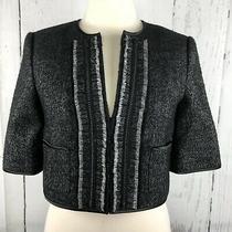 Bcbg Maxazria Womens Blazer Jacket S Black Gray Knit Campbell Cropped Wool Silk Photo