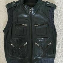 Bcbg Maxazria Womens Leather Vest Black Wool Size Medium Photo
