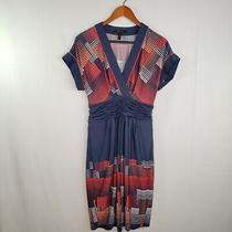 Bcbg Maxazria Womens M Shift Sleeveless Dress  Summer Red White Blue Orange Photo