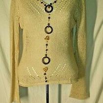 Bcbg Maxazria Womens Medium Beige Beaded Open Knit Long Sleeve Vneck Sweater  Photo