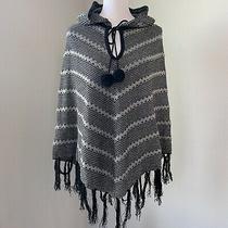 Bcbg Maxazria Womens S / M Knit Poncho Sweater Gray Black Metallic Hoodie Tie Photo