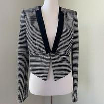 Bcbg Maxazria Womens Size Small Blazer Blue Striped Cropped Jacket Photo