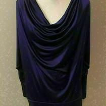 Bcbg Maxazria Womens Solid Royal Purple Long Sleeve Cowl Neck Top Blouse Xs Photo