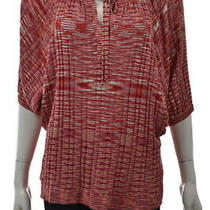 Bcbg Maxazria Womens Top Size S Red Speckled Batwing Knit Shirt Silk Casual Photo