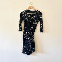 Bcbg Maxazria Wrap Dress Black Blush Long Sleeve Floral Flower Xs Extra Small Photo
