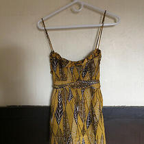 Bcbg Maxazria Yellow Brown Leaves Cotton Top Small Photo