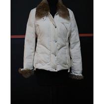 Bcbg Maz Azria - Cream Winter Jacket W/ Rabbit Fur Collar 100% Polyester Size S Photo