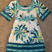 Bcbg Mazazria Ivory Teal Multicolor Dress 3/4 Sleeves Sz S Lk Nw Photo
