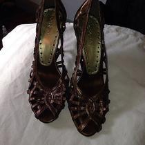 Bcbg Metallic Strappy Heels Sz 7 1/2 Party Pumps Shoes Designer Photo