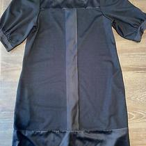 Bcbg Paris Black Dress Pockets Button Puffy Sleeves Size 12 Square Neck  Photo