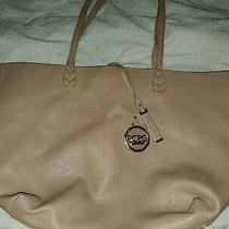 Bcbg Paris Faux Leather Tote Bag Purse Large Biege Shoulder Strap W/ Gold Emblem Photo
