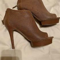 Bcbg Paris Kerriess Peep-Toe Bootie 7.5 Platform Stiletto Heel Beige Perforated Photo