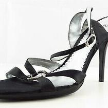 Bcbg Paris Size 9.5 M Black Ankle Strap Fabric Women Sandal Shoes  Photo