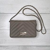 Bcbg Paris Taupe Clutch Quilted Faux Leather Purse Gold Chain Strap Crossbodybag Photo