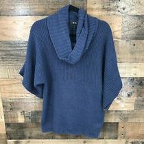 Bcbg Paris Women's Navy Turtleneck Boxy Short Sleeved Chunky Knit Sweater Size L Photo