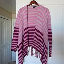 Bcbg Pink Open Cardigan Sweater With Fringe Sz S Acrylic Blend Photo