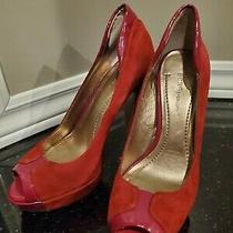 Bcbg Red Suede Platform Heals  Size 7 Photo