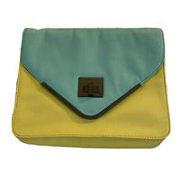Bcbg Seafoam & Yellow/green Purse Lacquer Leather Chain Shoulder Flap Bag Clutch Photo