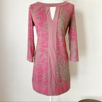 Bcbg Sheath Dress Pink Tan Palm Leaf Small Photo