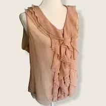 Bcbg  Sheer Ruffle Tank Top  Button Up Photo