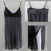 Bcbg Slip Dress 8 Silk Black With White Slit Panels Spaghetti Strap Dressy Flowy Photo