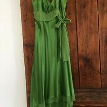 Bcbg () Tea Length Green Silk Halter Dress Size 2 Photo