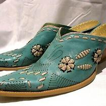 Bcbg Turquoise Western Cowboy Boot Leather Slip on Mule Women's Size 10 Photo