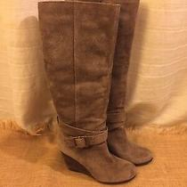Bcbg Wedge Boots Suede Leather Beige Brown Knee High Heels Tall Buckle 7 B Photo