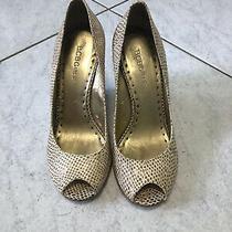 Bcbg Wedge Heel Snake Print Peep Toe Heel Wedge - Size 7 Photo
