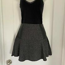 Bcbg Women's Black/gray/metallic Mini Skirt With Faux Leather Side Patches Sz 4 Photo