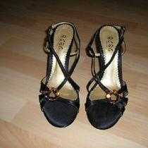 Bcbg Womens Black Satin Shoes/heels Size 8/38 New Photo