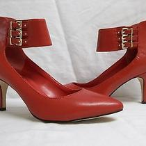 Bcbgeneration Bcbg Size 8 M Opal Red Leather Ankle Strap Heels New Womens Shoes Photo