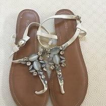 Bcbgeneration Bcbg Size 9 White Sandals Shoes Flats Thongs Flip Flops Embellised Photo