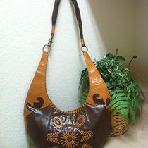 Bcbgirls Brown Tan Western Style Genuine Leather Hobo Shoulder Bag Handbag Photo