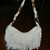 Bcbgirls Suede Fringe Shoulder Bag Gold Ring Trim Detail Photo