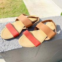 Bdg by Urban Outfitters Sandals 9 Brown Red Flat Buff Leather Rubber Sole Photo