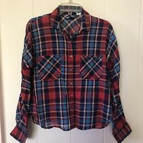 Bdg Plaid Shirt Red Blue Tartan Button Long Sleeve Blouse Urban Outfitters Top Photo