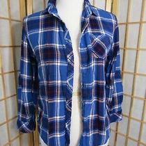 Beach Lunch Lounge Anthropologie Cotton Long Sleeve Collar Plaid Shirt Women's L Photo