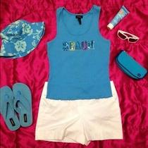 Beach Ribbed Tank Top.  Blue Large With Sequins. Photo