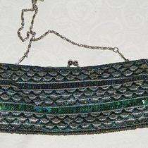 Beaded and Sequined Purse Small Black Silver Green Ab Beads and Sequins Photo