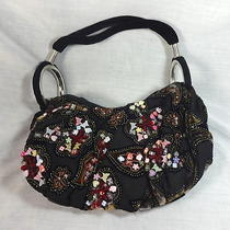 Beaded Flowers on Velvet Cloth Handbag Purse Pocketbook Hobo Style Shabby Chic Photo