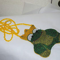 Beaded Shoulder Bag Frog the King Made by C. Marie Photo