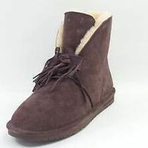 Bearpaw Christie Suede Sheepskin Fringe Boot With Neverwet Fig - New Photo