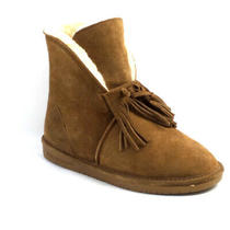 Bearpaw Christie Suede Sheepskin Fringe Boot With Neverwet Hickory Ii - A Photo