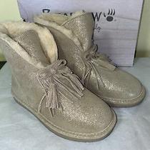 Bearpaw Christie Suede Sheepskin Fringe Boots Size 5 Photo