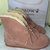 Bearpaw Christie Suede Sheepskin Fringe Wide Boots Size 8 Photo
