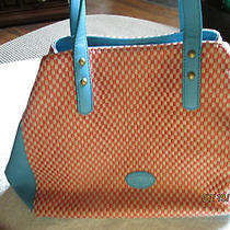 Beautiful and Fun Fossil Turquoise and Salmon Checked Purse Photo