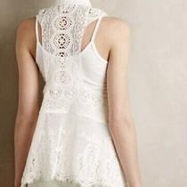 Beautiful Anthropologie Meadow Rue Crochet Asymetrical Vest White Photo
