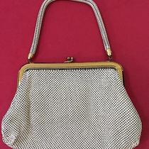 Beautiful Antique Art Deco Whiting & Davis Co Mesh Purse W/mirror Usa Gold Trim Photo